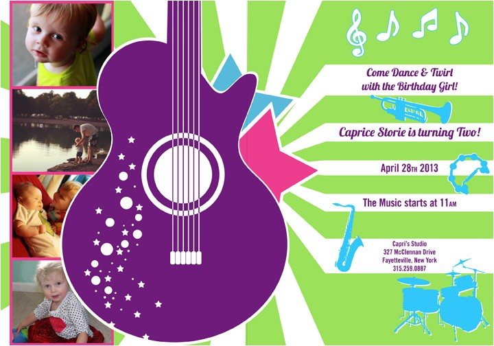 music birthday party invitations