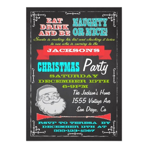blackboard naughty or nice christmas party invites 161985146336015480