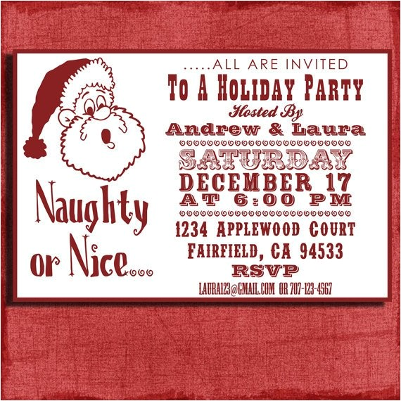 holiday naughty or nice party invitation