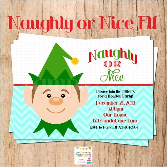 naughty nice elf holiday party invitation