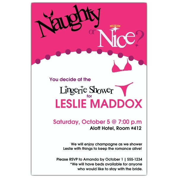 naughty or nice lingerie shower invitations p 608 46 412