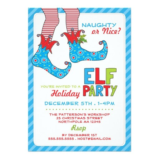 naughty or nice magic elf holiday party invitation 161698962390683386