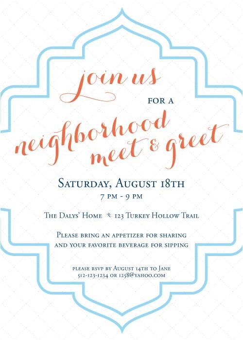 invitation wording neighborhood party