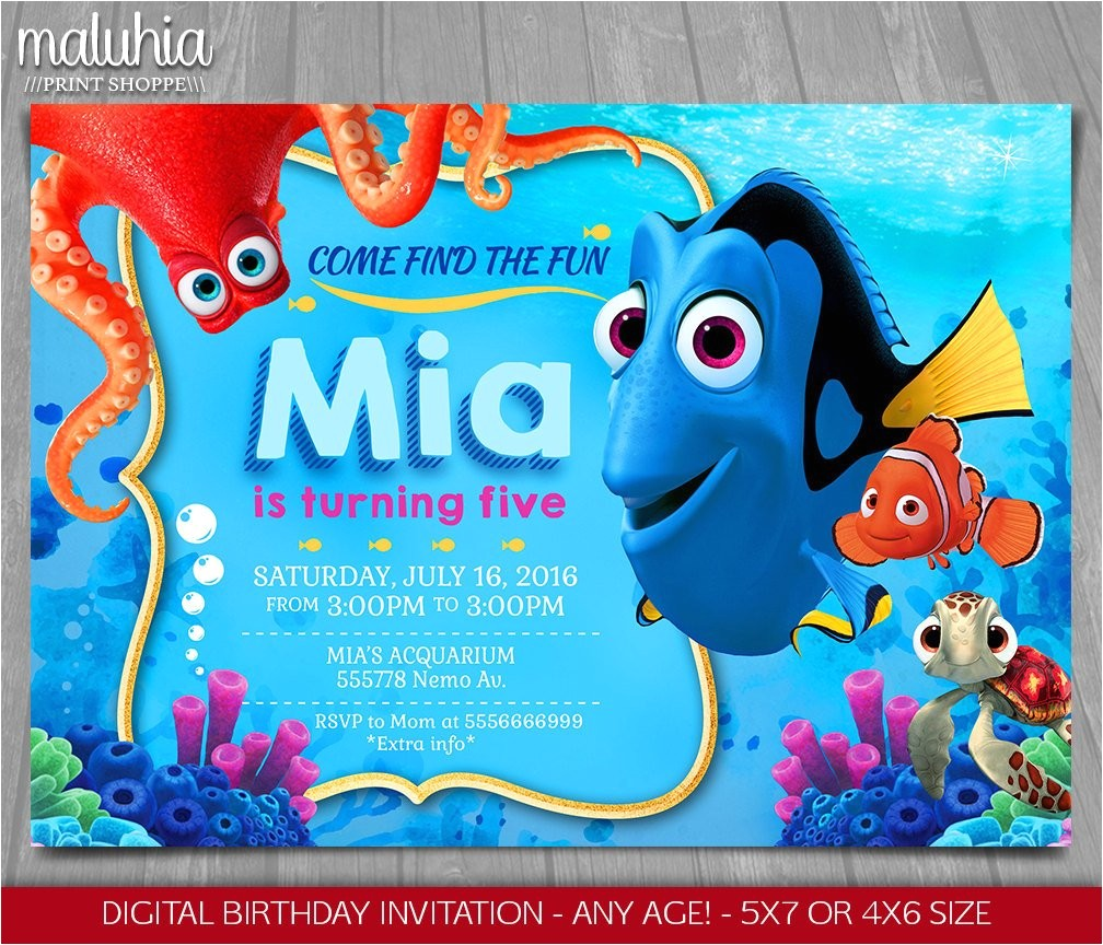 finding dory invitation finding nemo