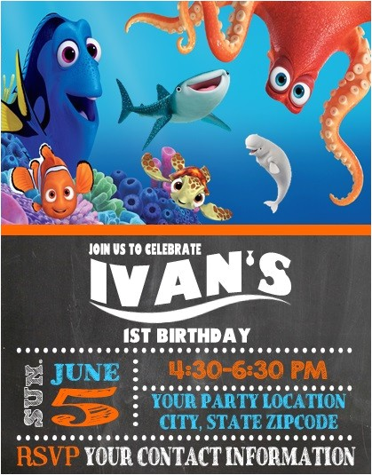 finding nemo dory birthday party invitations personalized
