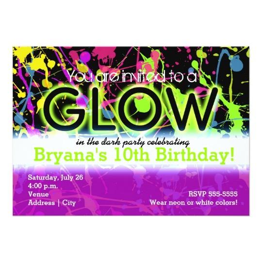 glow neon paint splatter birthday party invitation 161359544754460125