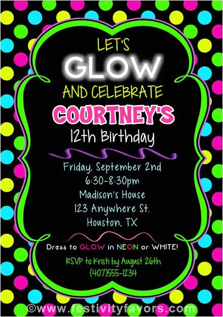 neon glow birthday party invitations