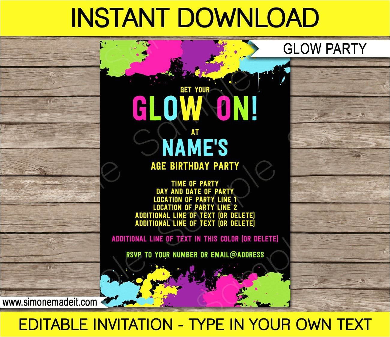 neon glow invitation template neon theme