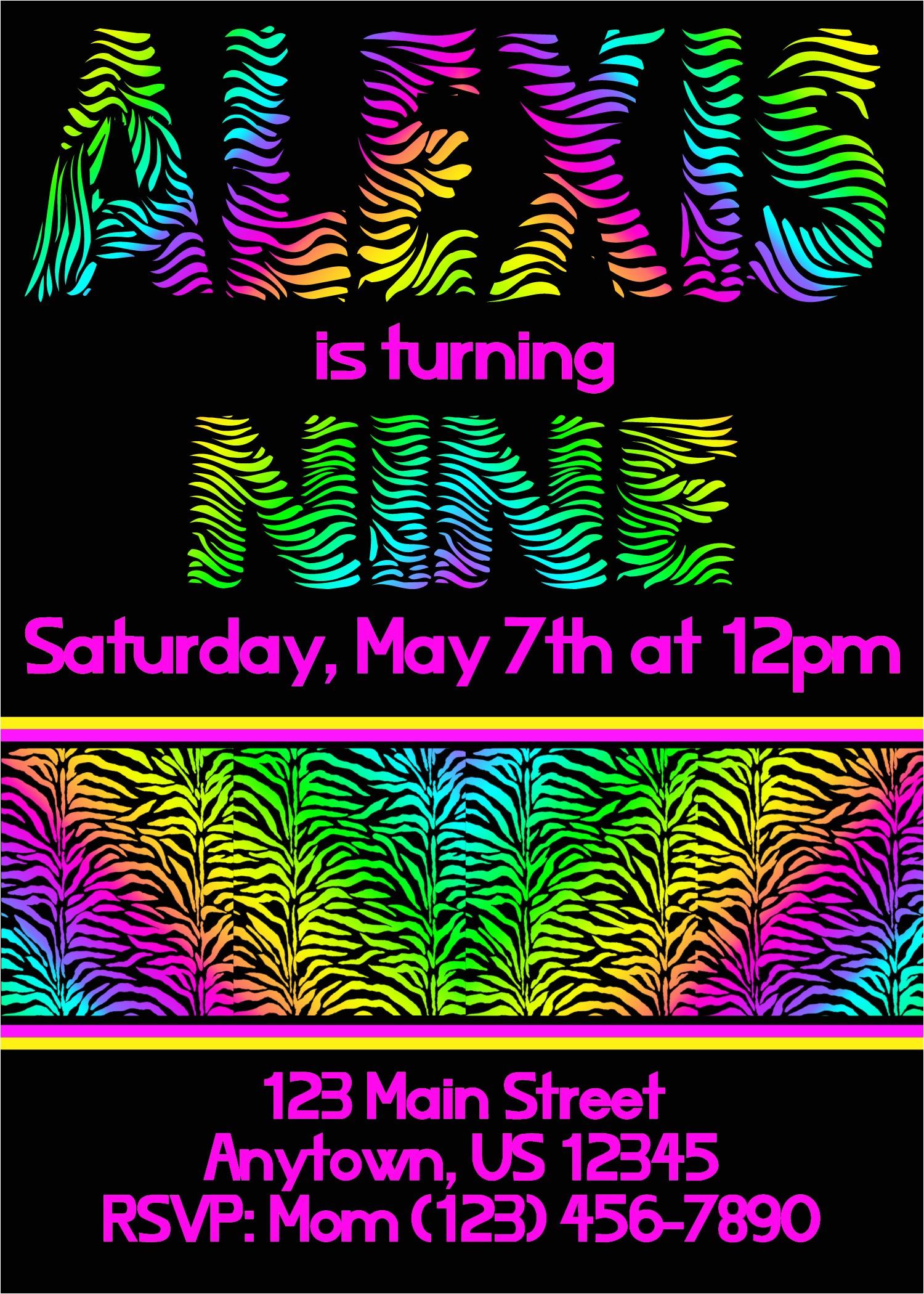 neon zebra party invitations