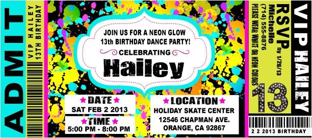 vip ticket neon glow birthday party invitation p 1841