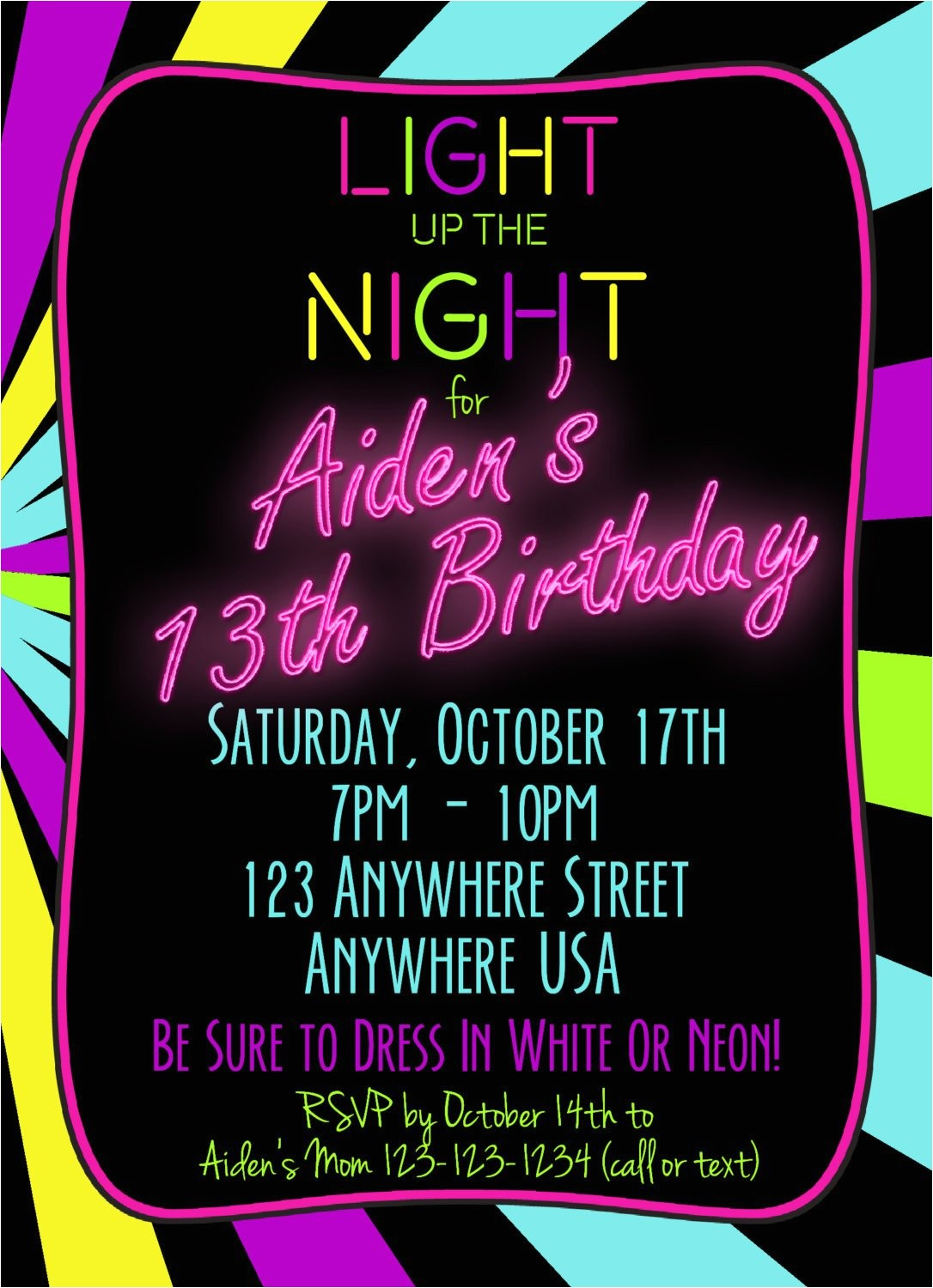 neon 13th birthday invitation glow party