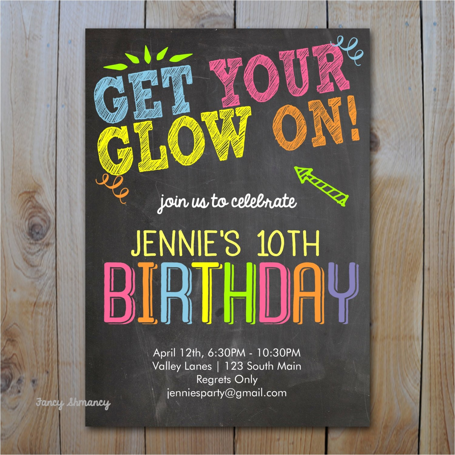 neon birthday invitation get your glow