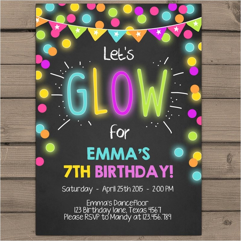 Neon Party Invites Neon Glow Party Invitation Glow Birthday Invitation Glow In