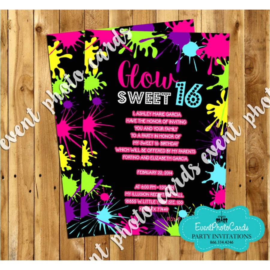neon glow in the dark party invitations 16