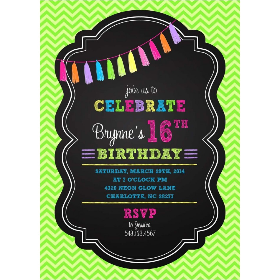 post neon party theme invitation wording 823439