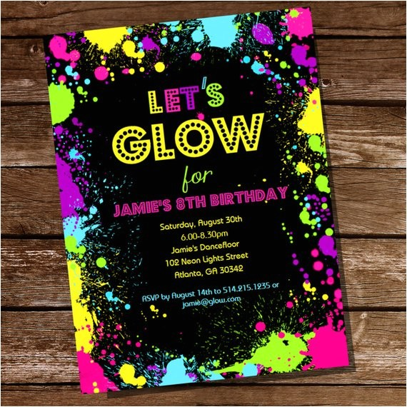 neon glow party theme invitation