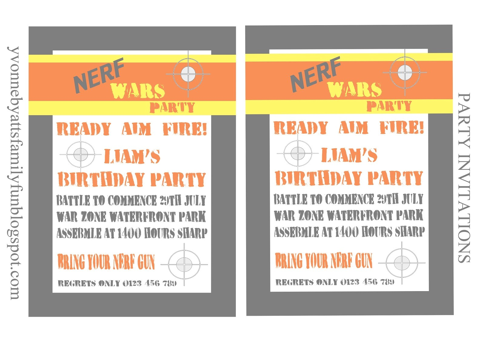Nerf War Party Invitation Template Nerf Party Invitations Template Budget Template Free