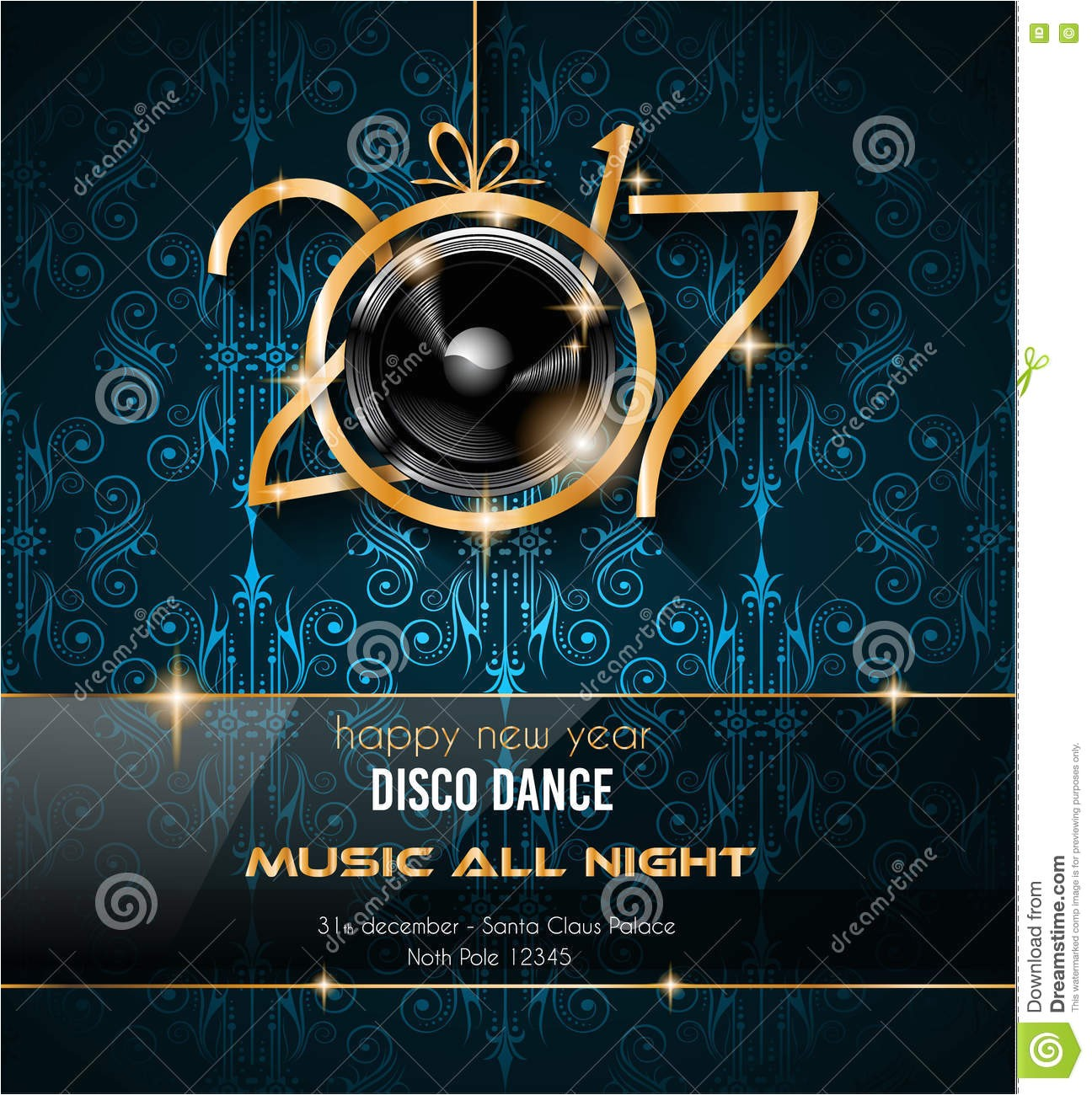 stock illustration happy new year disco party background your flyers greetings card ideal to use parties invitation dinner invitation image74510929