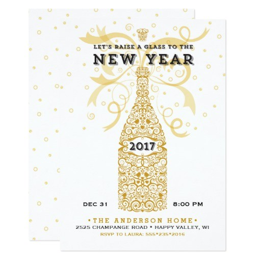 elegant new year 2017 party invitation 256572107050178528