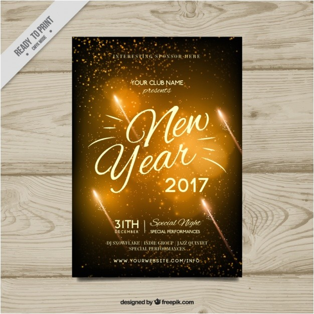 golden new year party invitation 2017 996905