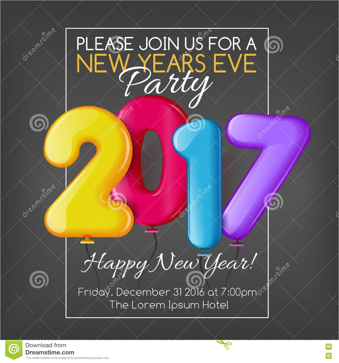 stock illustration merry christmas happy new year party invitation template vector illustration bright colorful xmas greeting image76843606