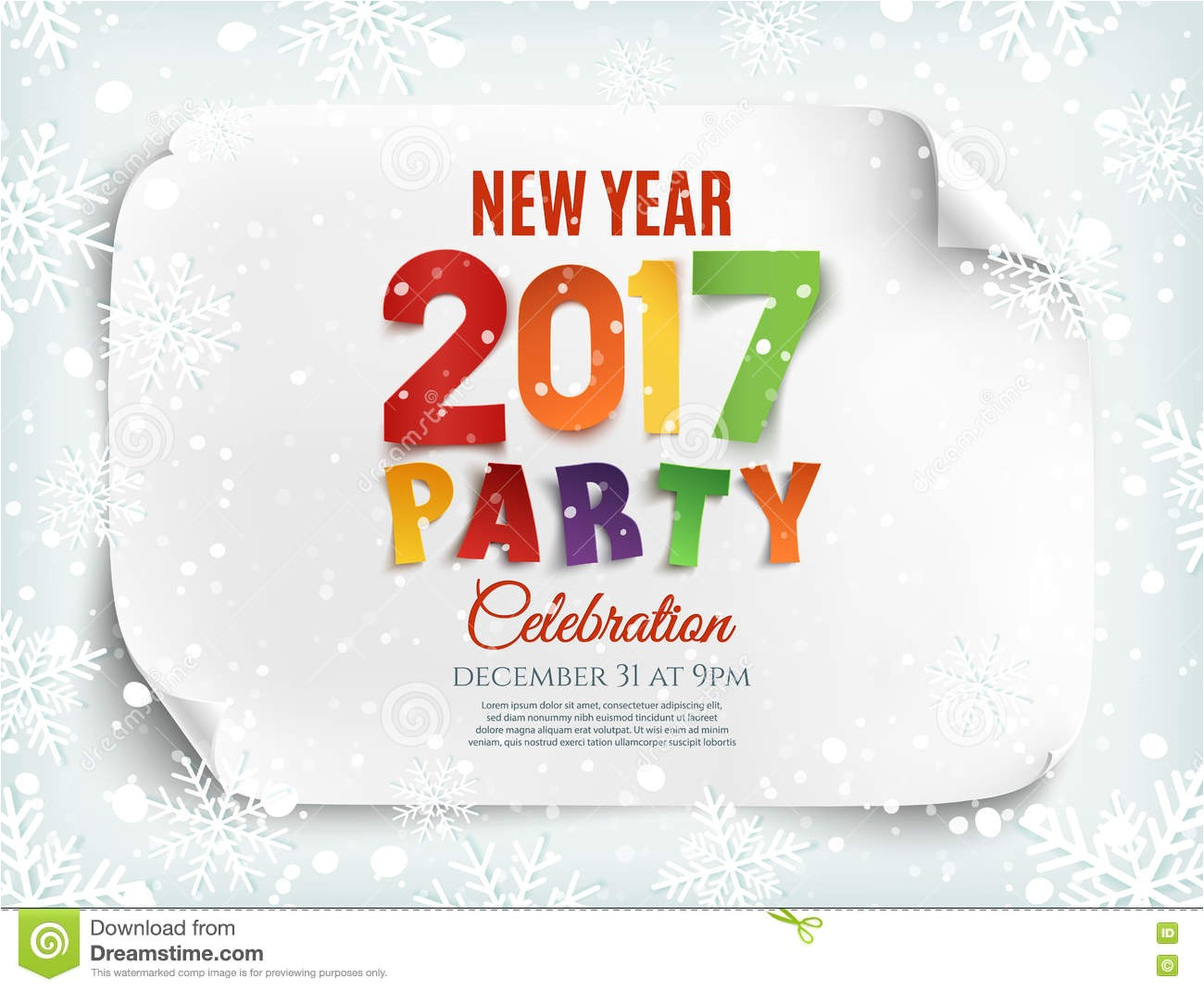 stock illustration new year party poster template snow snowflakes winter background perfect brochure flyer vector illustration image78780183