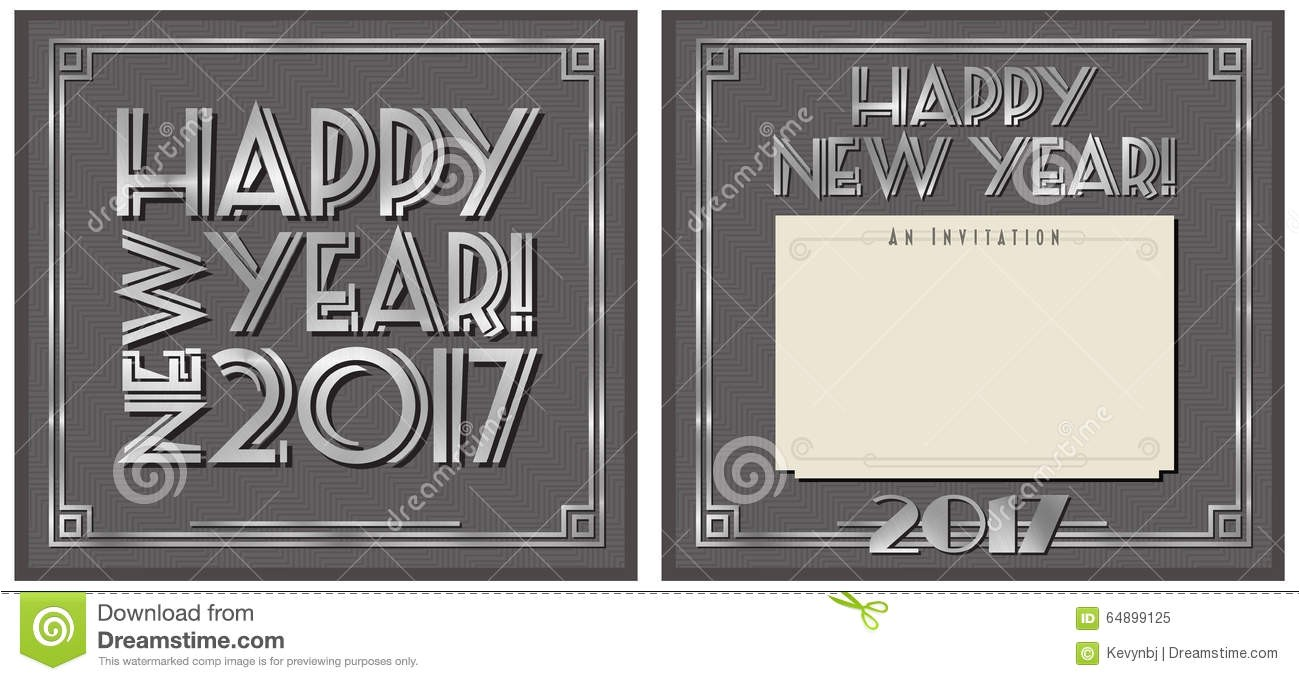 stock illustration new year party invitation happy note art deco style image64899125