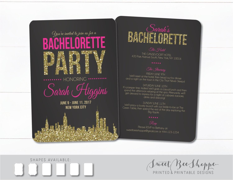 new york city bachelorette invite nyc