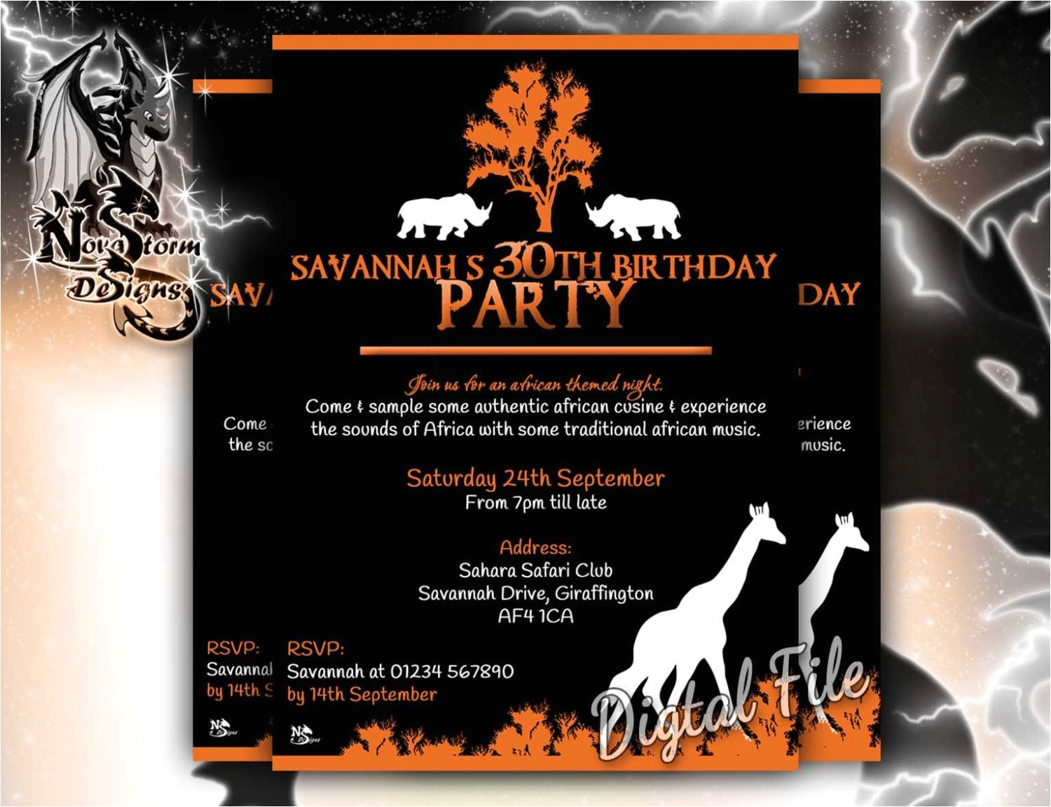 african party invitations themed night
