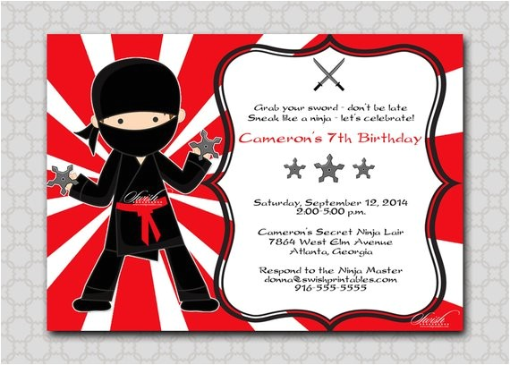 ninja birthday invitation printable
