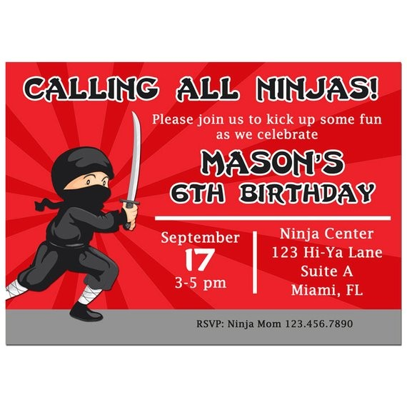 ninja invitation printable or printed