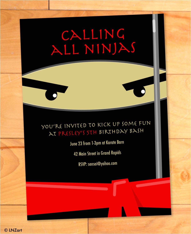 ninja birthday invitations karate kicks