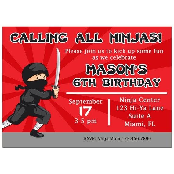 ninja invitation printable or printed