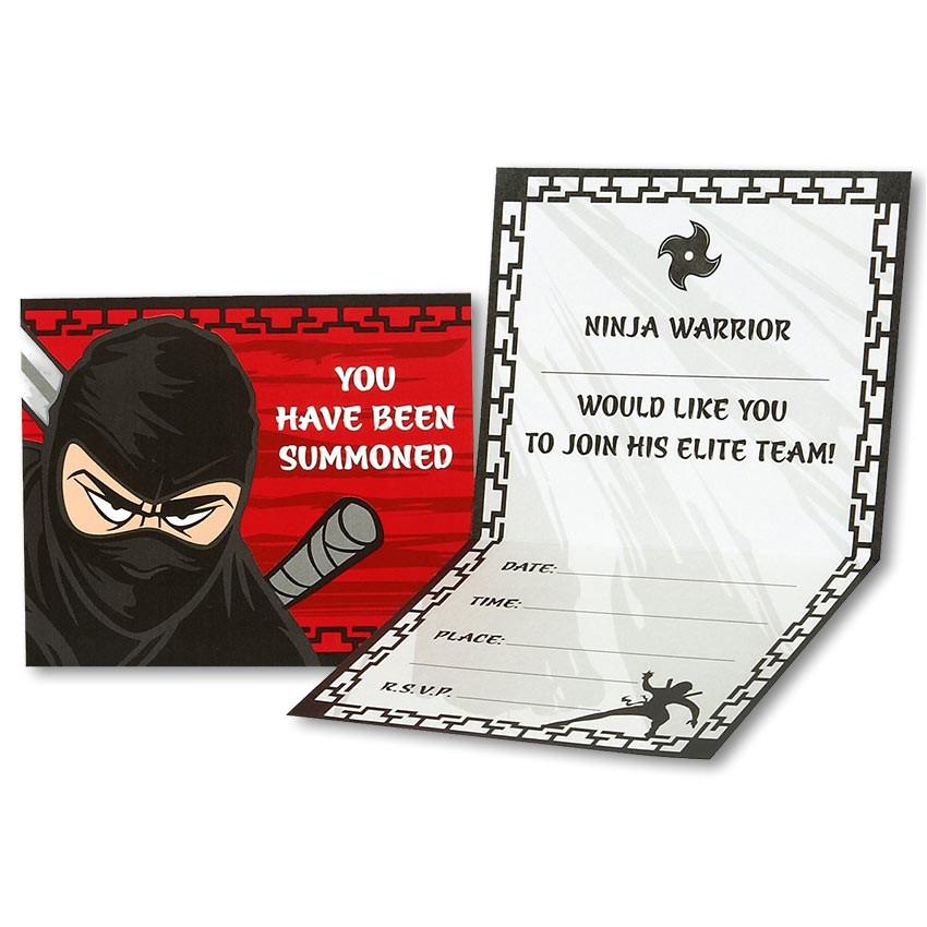 ninja warrior party invitations