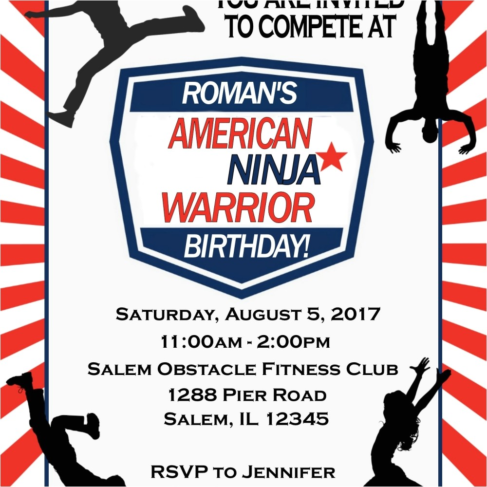 new american ninja warrior birthday invitation digital file you print