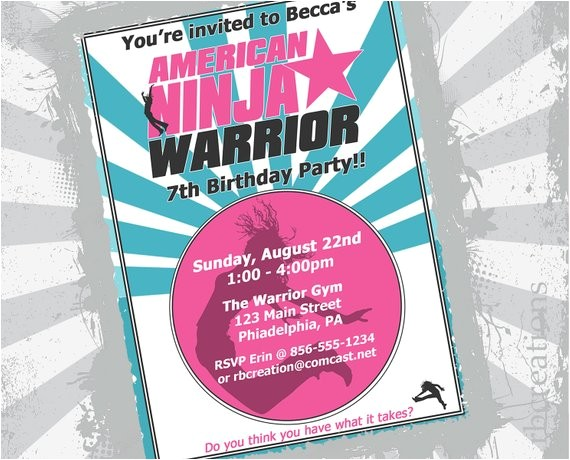girl american ninja warrior invitation