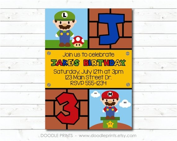 super mario bros invitation printable personalized