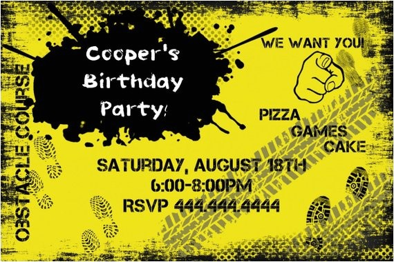 obstacle birthday party invitation