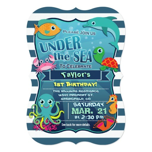 colorful kids sea life birthday party invitation 161446583674926141