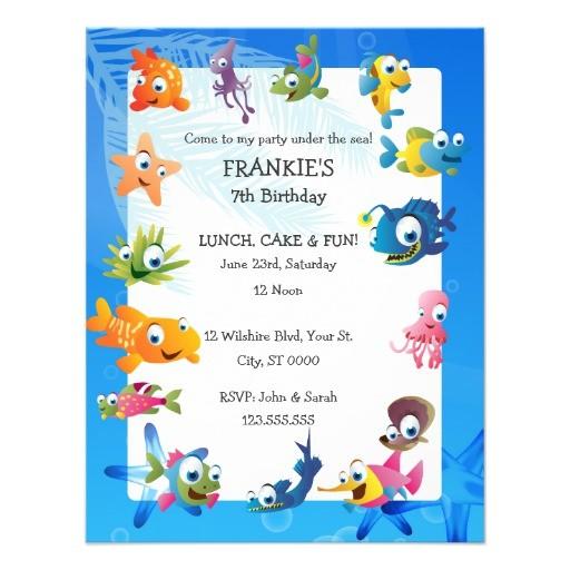 ocean theme childrens birthday party invitation 161790957475219337