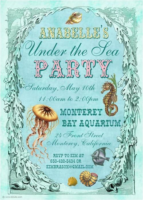 under the sea birthday party invitations