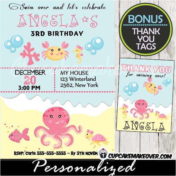 under the sea girl birthday invitation personalized d2