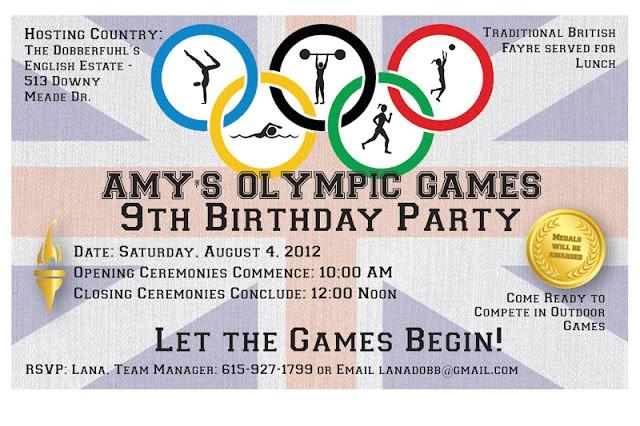 amys 9th birthday party olympics
