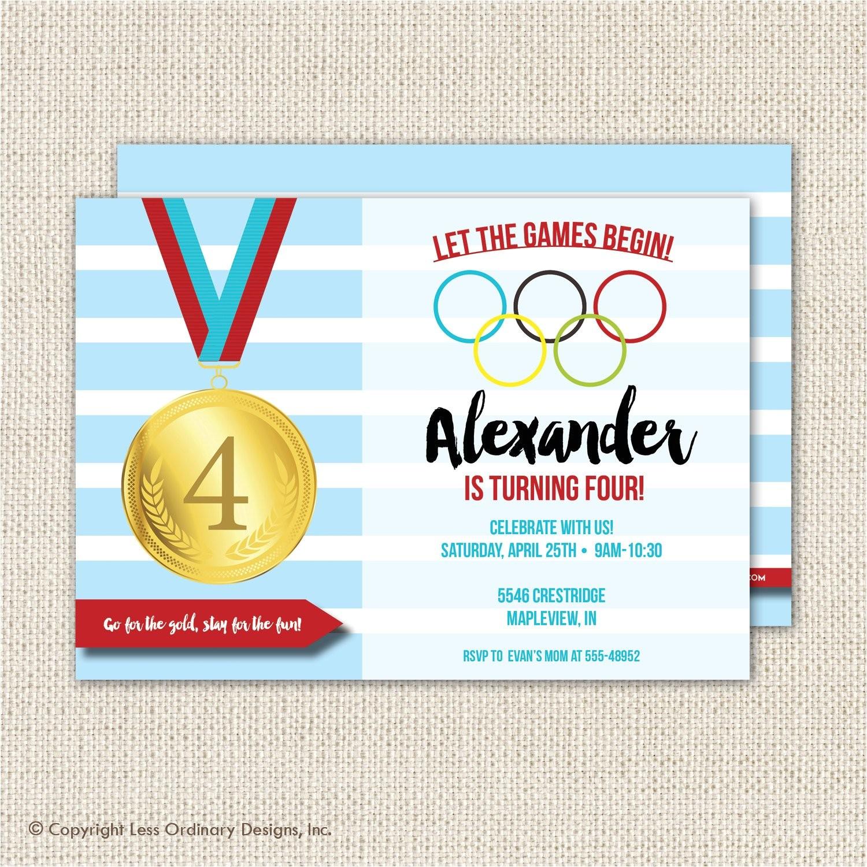 olympics birthday party invitation