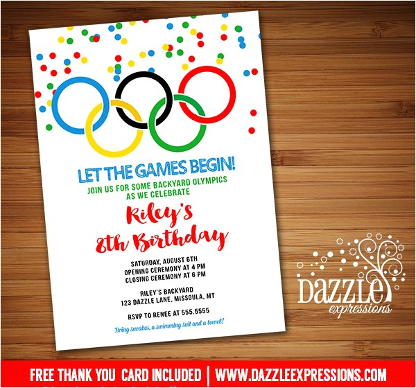 olympic games invitation free thank you card included