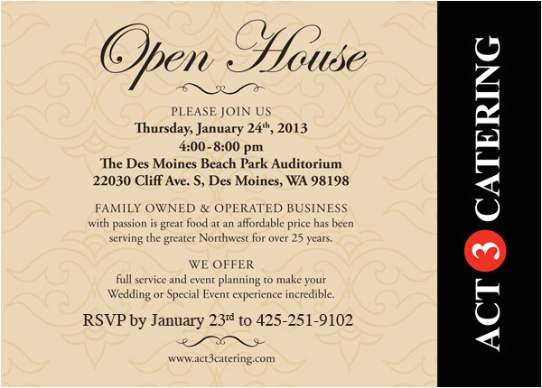 act 3 catering open house on thursday