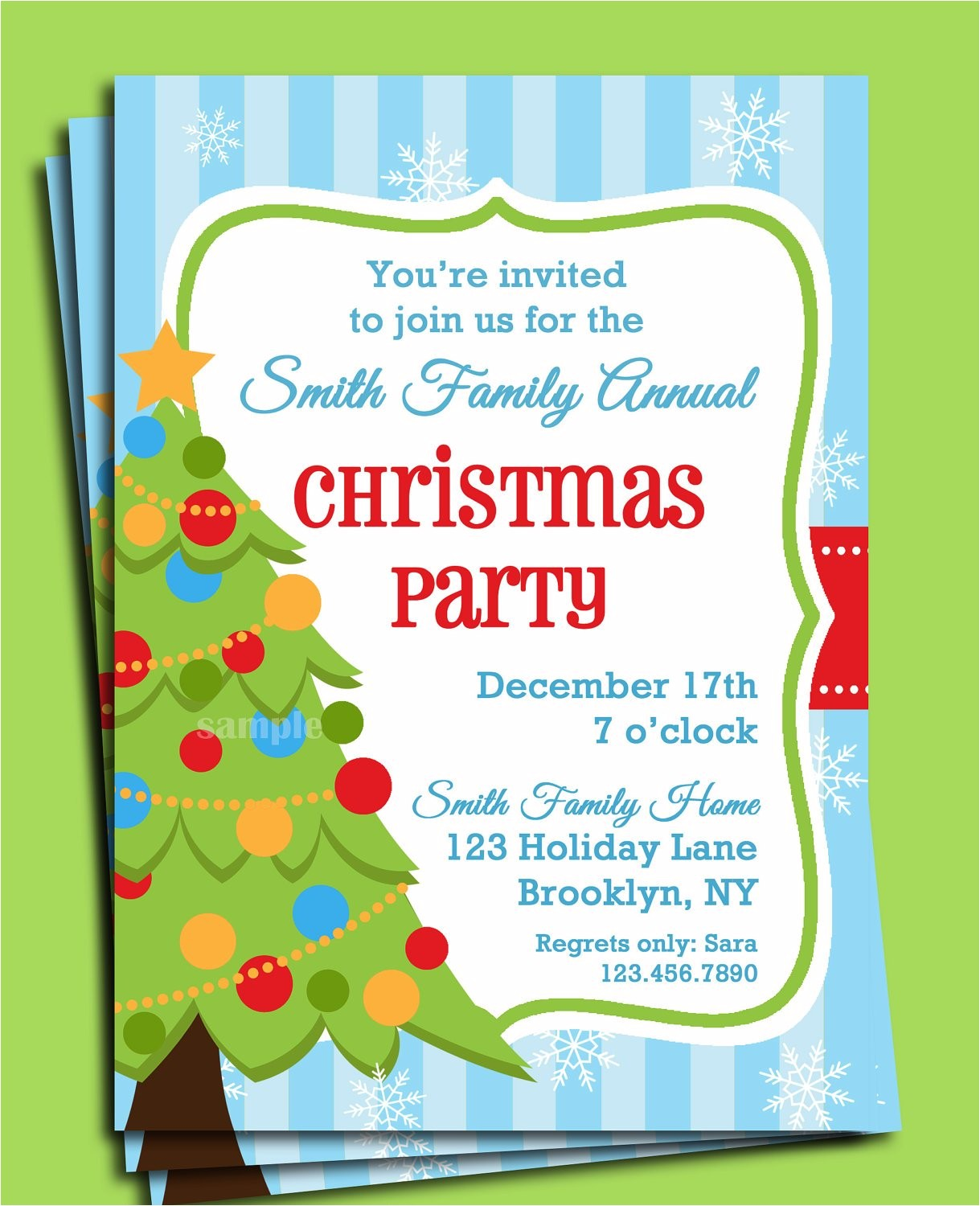 Order Christmas Party Invitations Christmas Party Invitation Printable Christmas Tree In Snow
