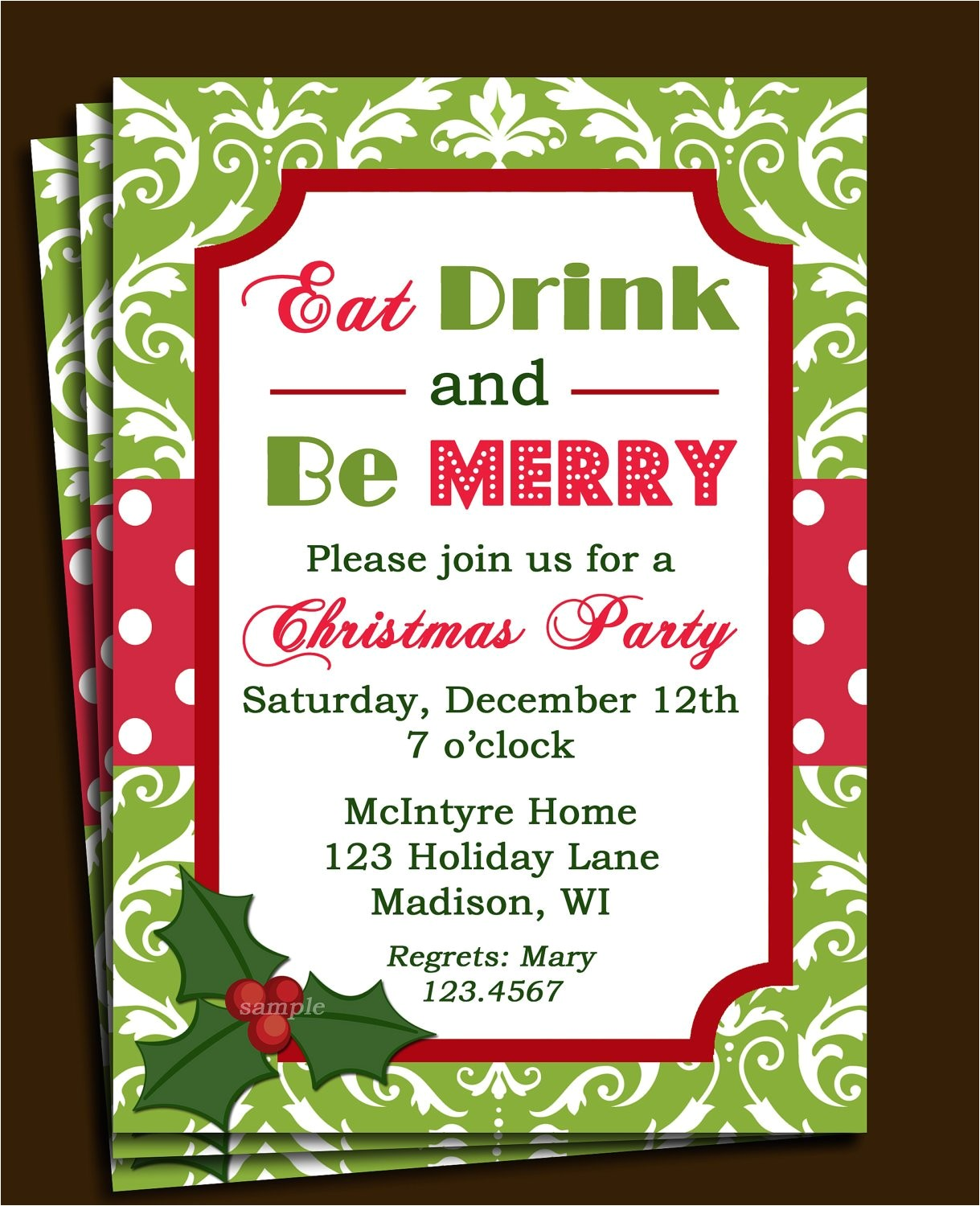 christmas party invitation printable or