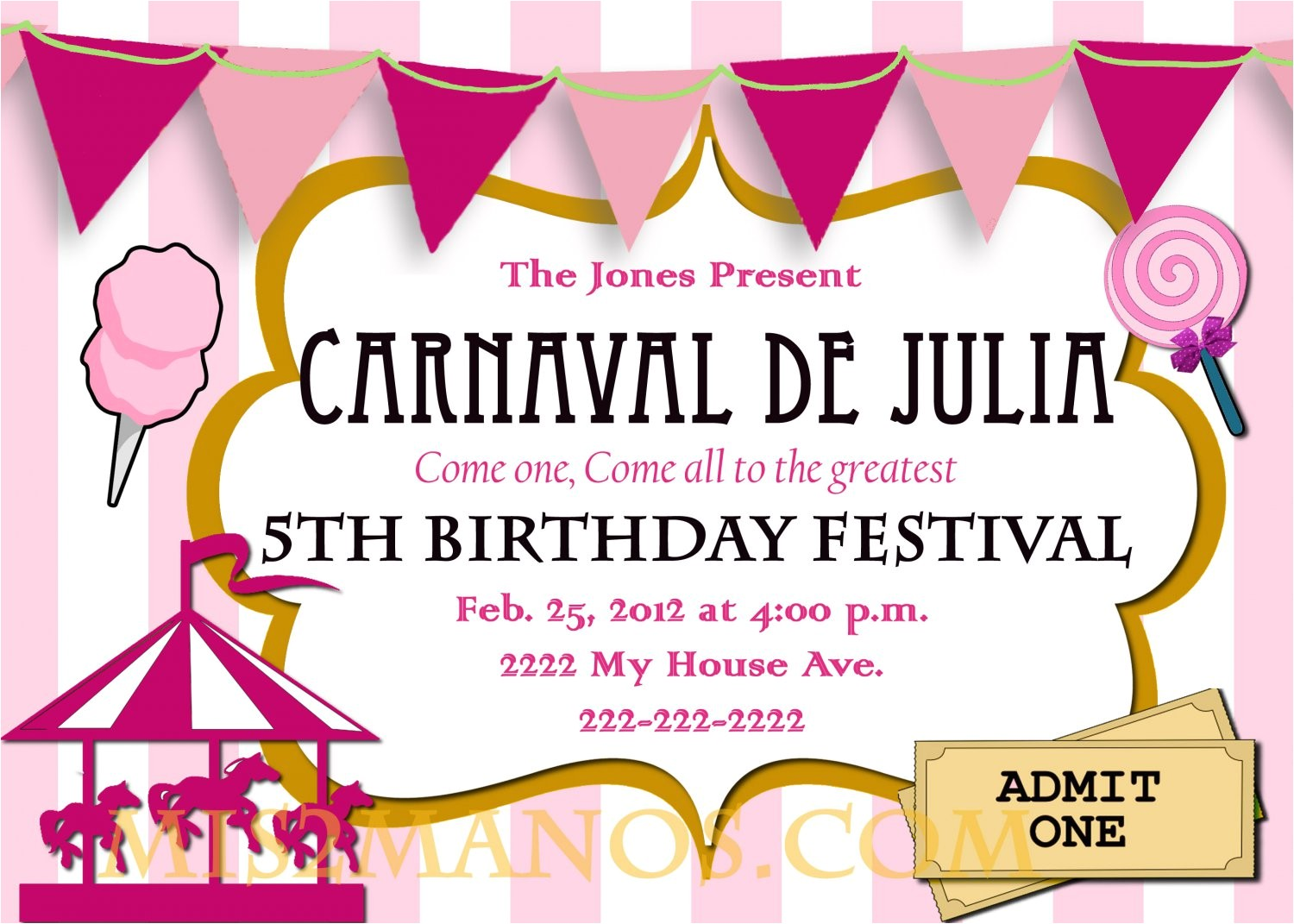carnival birthday party invitation diy