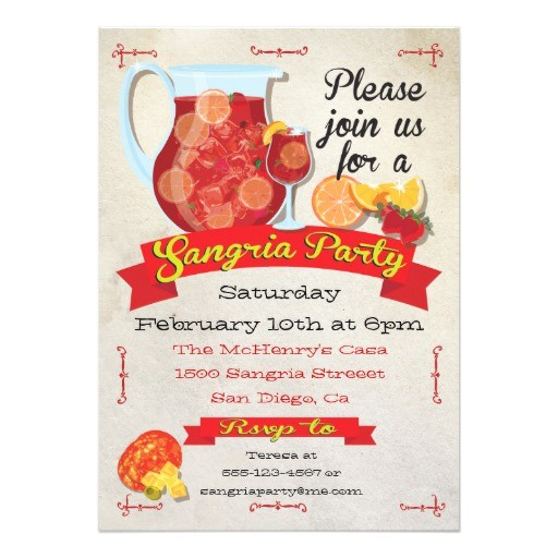 festive sangria party invitations 161839616530772566